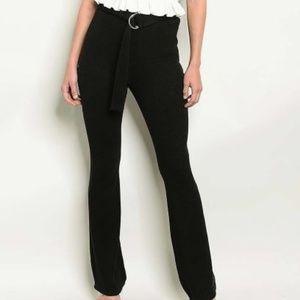 emory park Pants - Belted Ribbed Knit Dress Pant